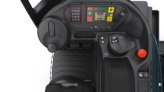 Der Multifunktionshebel von Linde Material Handling im Innenraum des Fahrzeugs