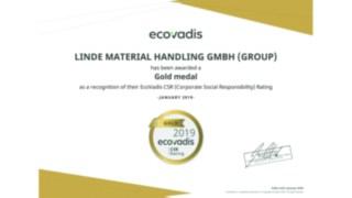 Für sein aktuelles CSR-Rating wurde Linde Material Handling von EcoVadis mit einer Goldmedaille ausgezeichnet.